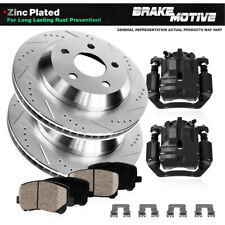 For Chevy GMC Rear Brake Calipers + Drill Slot Rotors + Ceramic Pads