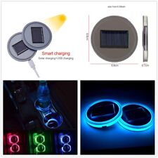 2x 7 Colorful Solar LED Car Cup Holder Pad Mats Auto Interior Atmosphere Lights
