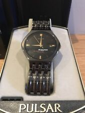 NIB Rare Pulsar 'Time Warner Cable' Branded Watch In Black Metal Band