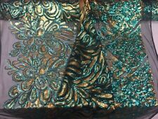 Luxurious Sequins Feather Peacock Design Mesh Lace turquoise gold. Sold by yard