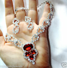 Red Austrian Crystal Rhinestone Choker Necklace Earring Set Bridal Pageant Prom