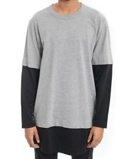 NWT $70 Cheap Monday Fake Is Tee Long Sleeve Shirt in Grey Melange & Black sz L