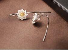 Lotus Earrings sterling silver blossom flower floral drop bridal wedding gift S6