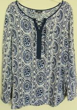 JENDI Tunic TOP light Viscose summer Blouse  l/sleeve boho Shirt ~ Women sz 14