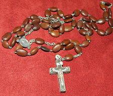 Antique 19th C. Seed Bean Reliquary Relic Rosary with Agnus Dei Cacilie Relic