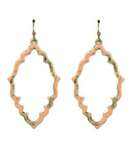 NEW BALI BOHEMIAN VINTAGE PAINT PEACH AND GOLD METAL EARRINGS