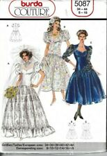 Burda Sewing Pattern 5087 Wedding Dress Ladies 8-18 Victorian 80s Vintage UNCUT