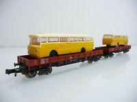 Fleischmann N 1:160 9396 1x Niederbordwagen mit einem MB Reisebus beladen