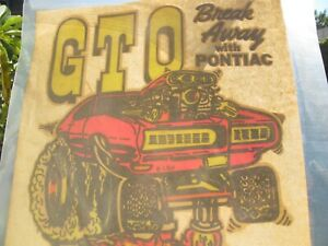 Vintage 1970's Pontiac GTO iron-on transfer for T-shirt muscle car