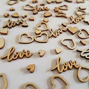 Wedding Table Decorations Rustic Small Wooden Love Hearts Confetti Decor BIO
