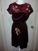 NWOT Molly Bracken Modcloth Floral Maroon Velvet Dress size SMALL (B149)
