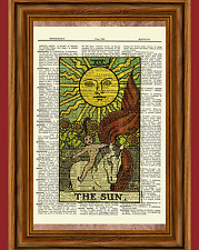 "Tarot Cards ""The Sun"" Major Arcana Deck Dictionary Art Print Picture"