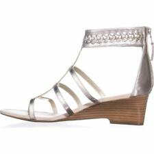 """New in Box RALPH LAUREN Silver Leather Meira Ankle Strap Sandals 2"""" Heel 8"""