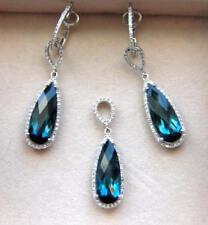 Gorgeous 14K White Gold London Blue Topaz & Diamond set of earrings and pendant