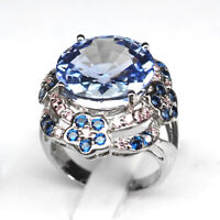 Tanzanite Blue Ring Size 6.5 Round 11.2Ct. 925 Sterling Silver Fine Gift Women