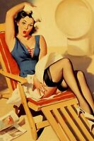 Pinup Navy Nice Sexy Girl in shezlong Woman Vintage Retro Photo Size 4x6 Q