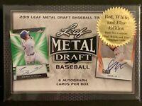 2019 Leaf Metal Draft Baseball Hobby Box Red White & Blue Edition 6 Autos #/10