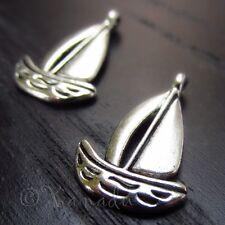 10PCs Sailboat Wholesale Ocean Aquatic Silver Plated Pendant Charms - C0364