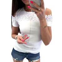 Women's Off Shoulder Blouse Shirts Cold Shoulder Short Sleeve T-Shirt Pullover