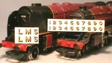 TRIANG HORNBY LIMA LMS LETTERS NUMBERS X2 TRANSFERS DECAL METAL GOLD BLACK SHADE