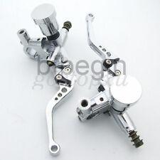 "7/8"" Unversal Chrome Motorcycle Brake Clutch Lervers Master Cylinder Reservoir"