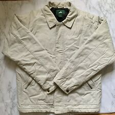 Mens EMS (Eastern Mountain Sports) Canvas Barn Jacket Coat M Cream Quilt Lining