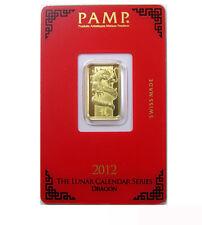 Goldbarren Pamp Suisse 5 g .9999 Gold Motiv Lunar Drache 2012