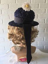 Mod Vintage 1960's Dark Blue Woven Straw Hat School Girl Daisy Millinery Usa