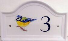 Blu TIT Bird House Numero Porta Placca in ceramica casa segno QUALSIASI NUMERO