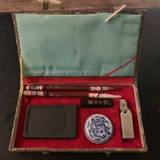 VINTAGE ORIENTAL CHINESE CALLIGRAPHY SET  GOLD BOX FOO DOG BLUE & WHITE INKWELL