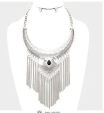 Long Fringe Bib Costume Silver Chain Multi Layer Statement Egyptian Necklace Set