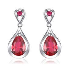 Ruby 925 Sterling Silver Women Jewelry Wedding Engagement Drop Earrings SE042