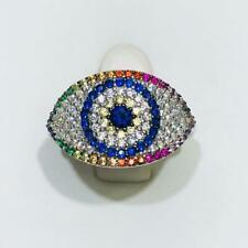 Platinum Sterling Silver Rainbow Sapphire Evil Eye Pave Band Halo Ring Size 5