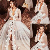 Wedding Long Jacket Sexy Bridal Lace Wrap Sleeve Women Sleepwear Long Gown Tulle