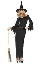 Halloween Black Witch Costume Dress Loose Sleeves PVC Belt & Hat Size 10-12