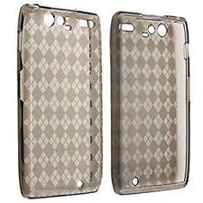 For Motorola DROID RAZR MAXX TPU CANDY Flexi Gel Skin Case Cover Smoke Plaid