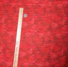 Hearts Valentines Sayings of Love David Textiles Gold & Red Cotton  Fabric BTY