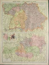 1934 LARGE MAP ~ CENTRAL EUROPE ~ SOUTH GERMANY & AUSTRIA ENVIRONS VIENNA