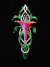 """JJ"" Jonette Jewelry Silver Pewter 'Oh, so Pretty Pink LILY' Flower Pin"