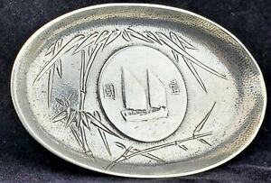 Vtg Chinese Sterling Silver SHIP Junk Coin Money Tray Circa 1930s SUN YET-SEN