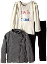 Calvin Klein Girls Gray Sparkle Jacket 3pc Legging Set Size 4 $79.50