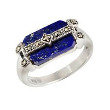 Esse Marcasite Sterling Silver Blue Lapis Lazuli Bold Art Deco Ring Size P NEW