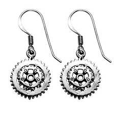 Sterling Silver Bicycle Double Sprocket Wire Earrings - SE1127