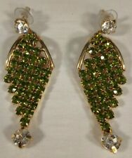 18 KARAT GOLD PLATED SILVER WITH PERIDOT SEMI-PRECIOUS STONES EARRINGS SET