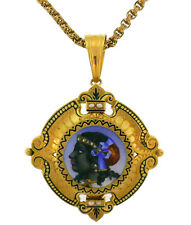 Victorian Yellow Gold PIN Brooch NECKLACE Pendant Enamel Painting