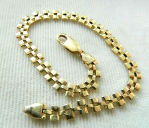 VINTAGE 14 K GOLD SIGNED ITALY BASKET WEAVE BRACELET 8 GRAMS