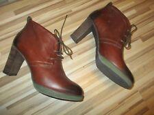 MEXX Ankle Boots Stiefelette Schuhe Schnürer  Gr.39  Leder Braun
