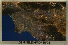 """MAP POSTER~Los Angeles From Space Laminated 24x36"""" 1987 VINTAGE ORIGINAL RARE"""