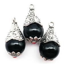 """6mm Negro Redondo Perlas de ágata rayas de cebra para joyería haciendo filamentos Hazlo tú mismo 15/"""" l472"""
