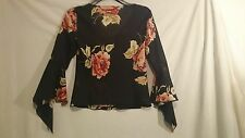 Joi Ladies Top in Black Floral Pattern with Beaded Detail Size 10
